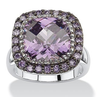 Silvertone 4 5/8ct Cushion-cut Bezel-Set Simulated Amethyst Pave Halo Cocktail Ring Color