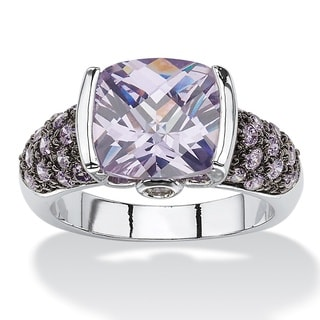 Silvertone and Black Ruthenium-plated 5 1/2ct Cushion-cut Simulated Amethyst Cocktail Ring