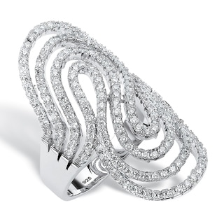 Sterling Silver 1 1/2ct Round Cubic Zirconia Swirling Ribbon 'S' Ring Bold Fashion