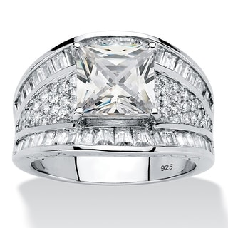 PalmBeach Platinum over Sterling Silver 3 7/8ct Square-cut and Baguette Cubic Zirconia Engagement Ring Bold Fashion