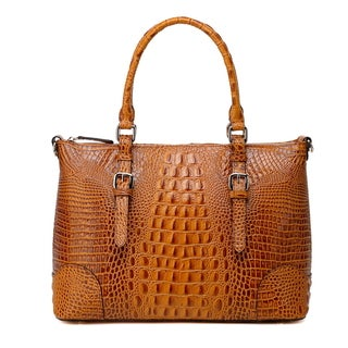 Vicenzo Leather Carole Croc Embossed Leather Tote Handbag