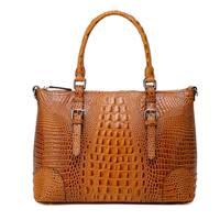 Vicenzo Leather Carole Croc Embossed Leather Tote Handbag