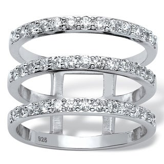 Platinum Over Sterling Silver Cubic Zirconia Ring White