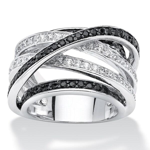 Silver Tone Black Cubic Zirconia Ring - White