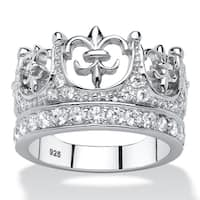 Platinum over Sterling Silver 1ct Round Cubic Zirconia Crown Ring Bold Fashion