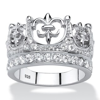 Platinum over Sterling Silver Cubic Zirconia Crown Ring - White
