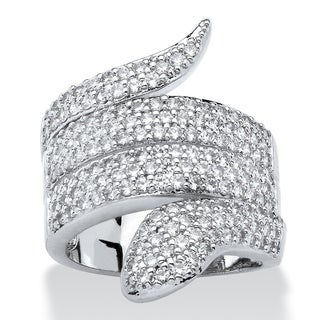 PalmBeach Platinum-plated 2 1/4ct Round Cubic Zirconia Coiled Snake Ring Bold Fashion