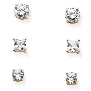 PalmBeach Rhodium-plated Sterling Silver 9 1/5ct Cubic Zirconia 3-pair Set of Stud Earrings Classic CZ
