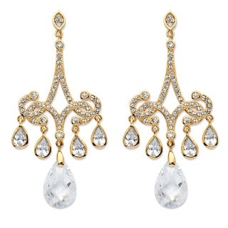 Goldplated 15Ct Pear-Cut Cubic Zirconia Chandelier Earrings Bold Fashion