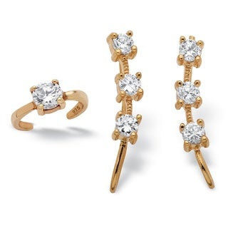 PalmBeach 18k Yellow Gold over Sterling Silver 7/8ct Round Cubic Zirconia Ear Pin and Cuff Set Classic CZ
