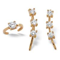 18k Yellow Gold over Sterling Silver 7/8ct Round Cubic Zirconia Ear Pin and Cuff Set Class