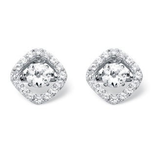 PalmBeach Platinum over Sterling Silver 1 1/3ct Round Cubic Zirconia 'CZ in Motion' Halo Earrings Classic CZ