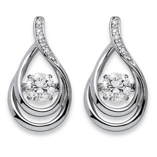 PalmBeach Platinum over Sterling Silver 3/4ct 'CZ in Motion' Cubic Zirconia Double Loop Teardrop Earrings Classic CZ