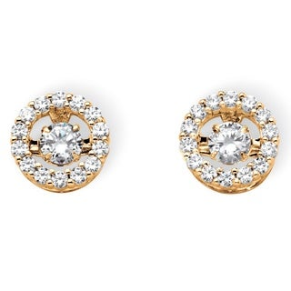 PalmBeach 14k Gold over Sterling Silver 1 7/8ct Round 'CZ in Motion' Cubic Zirconia Halo Earrings Classic CZ
