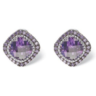 PalmBeach Silvertone 3 5/8ct Cushion-cut Bezel-set Simulated Amethyst Pave Halo Stud Earrings Color Fun