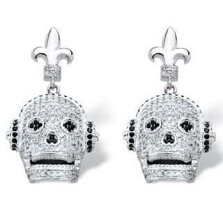 PalmBeach Silvertone 2 1/4ct Micro-set Cubic Zirconia Laughing Skull with Headphones Earrings Bold Fashion