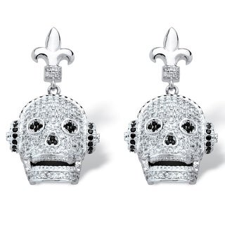 Silvertone 2 1/4ct Micro-set Cubic Zirconia Laughing Skull with Headphones Earrings Bold F