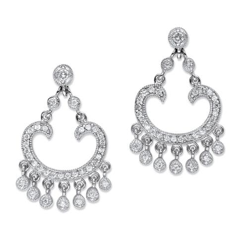 Platinum-Plated Round Chandelier Earrings Cubic Zirconia (1 1/7 cttw TDW)