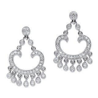PalmBeach Platinum-plated 1 1/8ct Round Cubic Zirconia Chandelier Drop Earrings Classic CZ