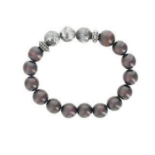 Fox and Baubles Labradorite and Wood with Brass Rondells Men's Stretch Bracelet