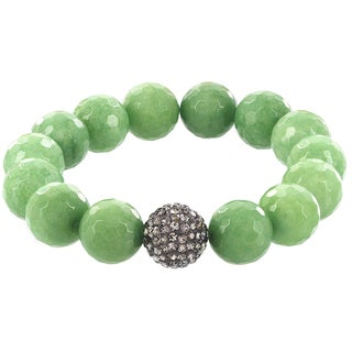 Fox and Baubles Faceted Mint Green Agate and Smokey Crystal Bead Stretch Bracelet