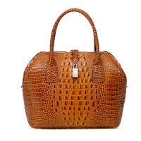 Vicenzo Leather Diane Croc Embossed Top Handle Leather Handbag