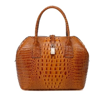 Vicenzo Leather Diane Croc Embossed Top Handle Handbag