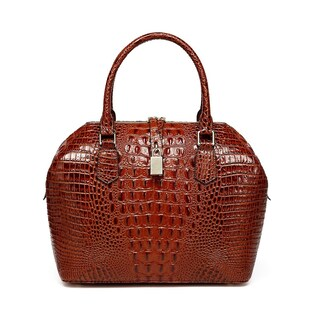 Vicenzo Leather Diane Croc Embossed Top Handle Leather Handbag (2 options available)