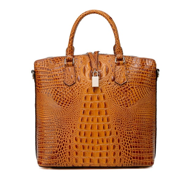 Vicenzo Leather Dione Croc Embossed Tote Handbag