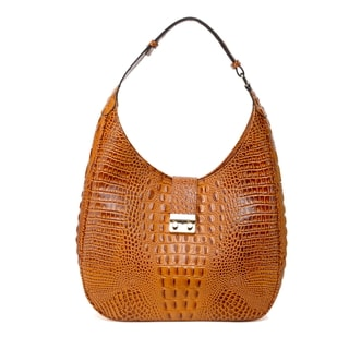 Caroline Croc Embossed Leather Hobo Handbag