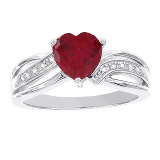 H Star Sterling Silver Heart-shaped Created Ruby and Diamond Accent Ring (H-I, I1-I2)