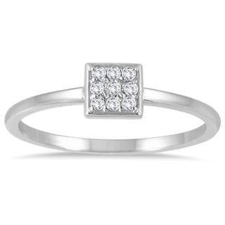 Marquee Jewels 14k White Gold Ring 1/10ct TDW Stackable Diamond Ring