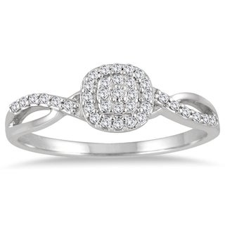 Marquee Jewels 10k White Gold 1/5ct TDW Diamond Halo Twist Ring (I-J, I2-I3)