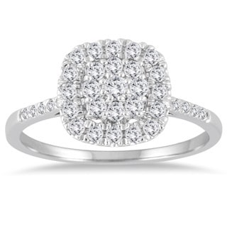 Marquee Jewels 14k White Gold 1/3ct TDW Diamond Cluster Ring