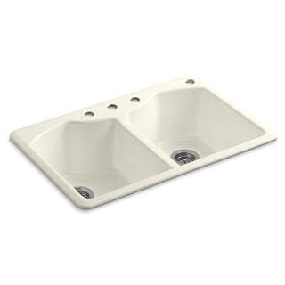 Kohler Bellegrove Top-Mount Cast Iron 33 inch 4-Hole Double Bowl Kitchen Sink Sea Salt