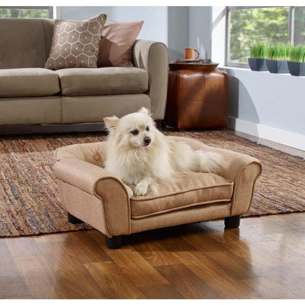 Enchanted Home Pet Sydney Linen Tufted Pet Bed Sofa