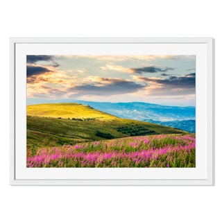 Gallery Direct Wild Flowers on a Mountain Hill at Sunrise Print on Paper Frame