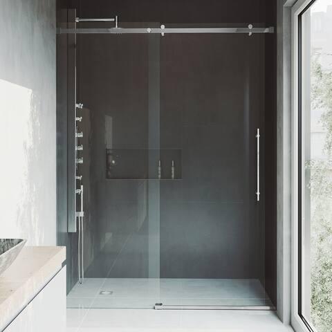 VIGO Luca Clear Adjustable Frameless Sliding Shower Door