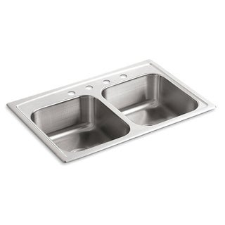 Kohler Toccata Self-Rimming Stainless Steel 33 inch 4-Hole Double Bowl Kitchen Sink
