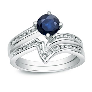 Auriya 14k Gold 3/4ct Blue Sapphire and 1/4ct TDW Round Diamond Bridal Ring Set (H-I, I1-I2)