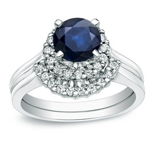 Auriya 14k Gold 3/4ct Blue Sapphire and 1/4ct TDW Round Diamond Bridal Ring Set (H-I, I1-I2)