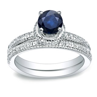 Auriya 3 4ct Round Blue Sapphire And 1 4ctw Diamond Engagement Ring Set 14k Gold