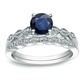 Auriya 14k Gold 7/8ct Blue Sapphire and 1/10ct TDW Diamond Bridal Ring Set (H-I, I1-I2)