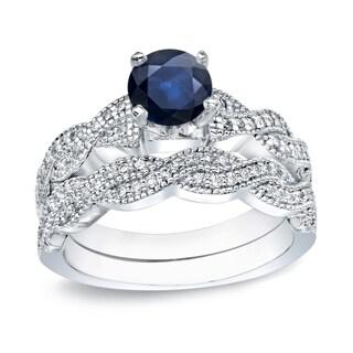 Auriya 14k Gold 1/2ct Blue Sapphire and 1/2ct TDW Round Diamond Bridal Ring Set (H-I, I1-I2)