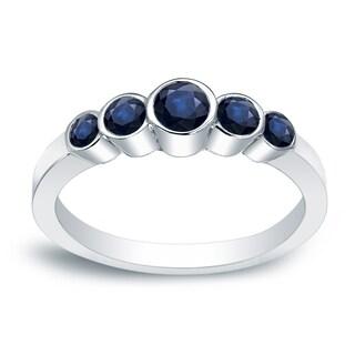 Auriya 14k Gold 1/2ct Round-Cut Blue Sapphire Gemstone 5-Stone Ring