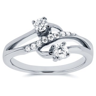 Annello by Kobelli Two 14k White Gold 1/3ct TDW Diamond Two-Stone Curved Ring