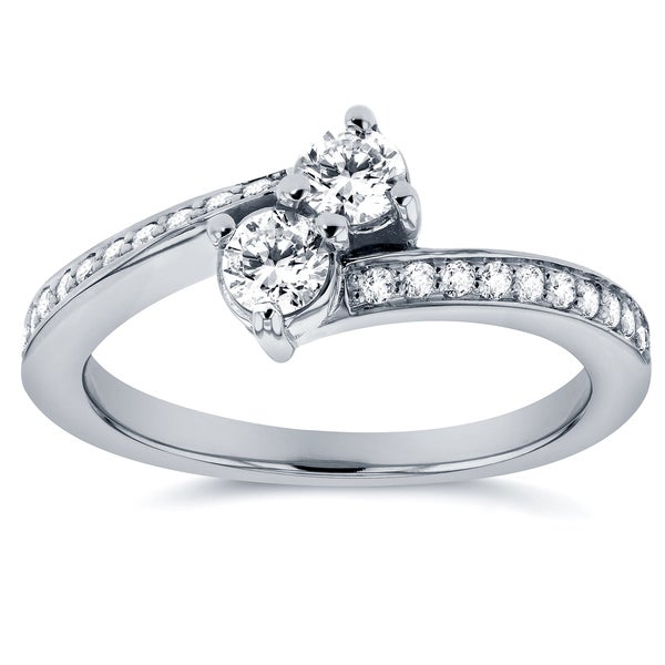Annello by Kobelli Two Collection 14k White Gold 2/5ct TDW 2-stone Diamond Ring