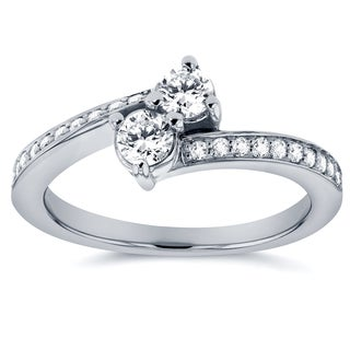 Annello by Kobelli Two Collection 14k White Gold 2/5ct TDW 2-stone Diamond Ring (G-H, I1-