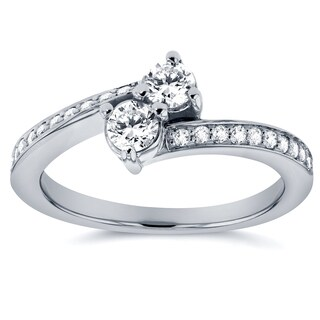 Annello by Kobelli Two Collection 14k White Gold 2/5ct TDW 2-stone Diamond Bypass Ring