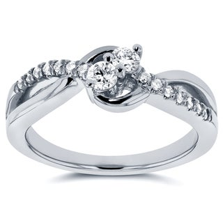 Annello by Kobelli Two Collection 14k White Gold 1/4ct TDW Diamond Two-Stone Ring (G-H, I